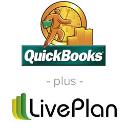 Quickbooks and LivePlan corporate logos