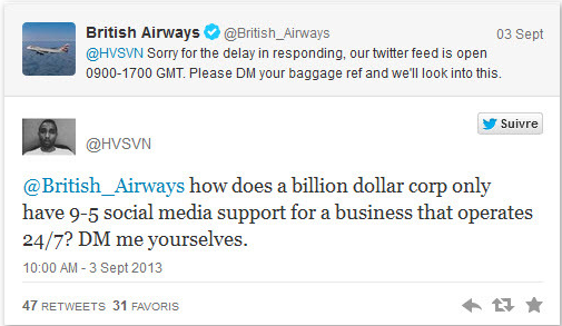 British Airways fails to respond quickly to customer complaint on Twitter.