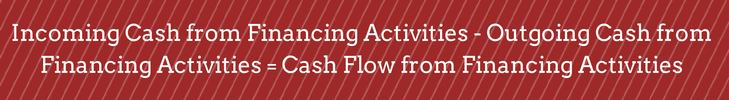 INCOMING CASH FROM FINANCING ACTIVITIES - OUTGOING CASH FROM FINANCING ACTIVITIES = CASH FLOW FROM FINANCING ACTIVITIES