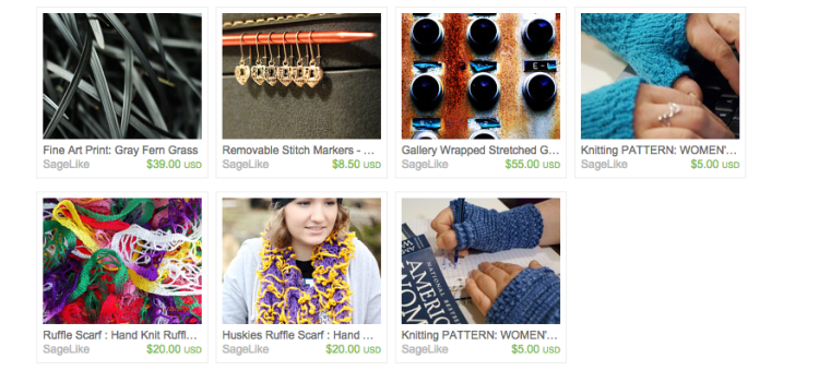 An example of wares from SageLike Studios, featuring hand-knit items and art prints.