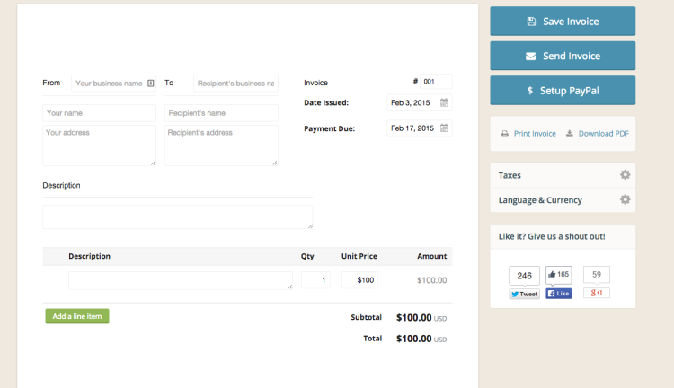 free invoice templates you can use right now | bplans, Invoice examples