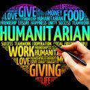 Humanitarian word cloud heart concept presentation background