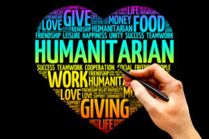 Humanitarian word cloud heart concept presentation background