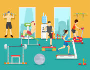 Training people in gym. Training gym, sport fitness gym, man workout in gym. Vector illustration in flat style
