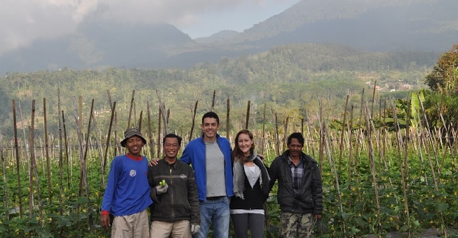 Lianne and her partner Taner (center), harvesting the cucumbers for their organic pickle business, Our Organic Culture.