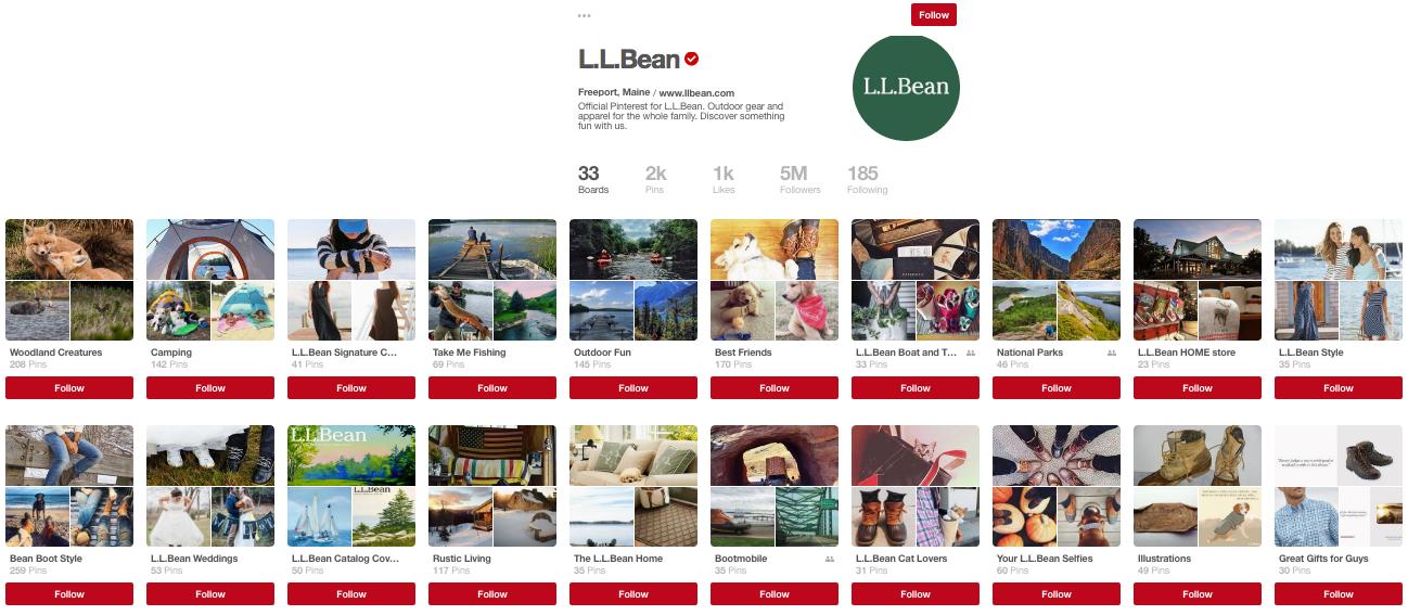 L.L. Bean's Pinterest page.