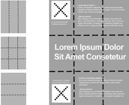 Various rule of three layouts that include a completed wireframe with a headline, copy, and images laid out within the three block grid pattern.