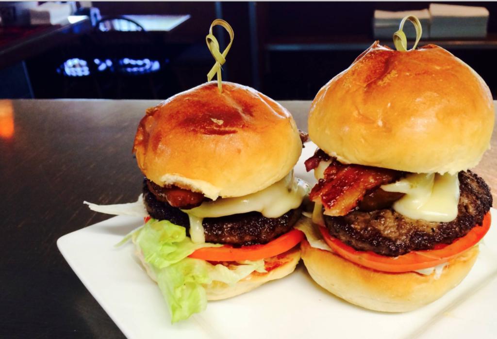 Two burgers from upscale Eugene Oregon burger restaurant Northwest Burgers