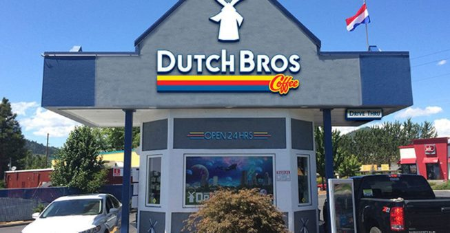 Popular coffee chain Dutch Bros Coffee drive thru