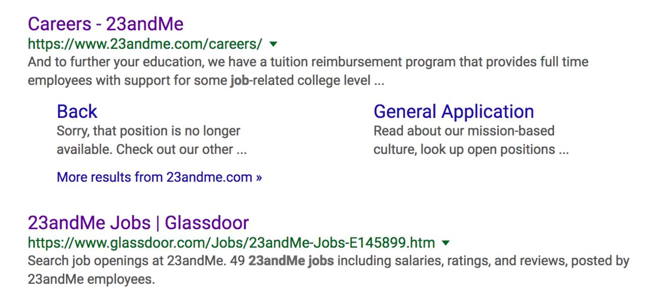 Job listing example; 23andMe Careers example screenshot