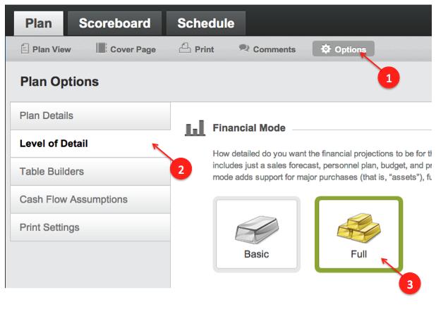 full financials in liveplan