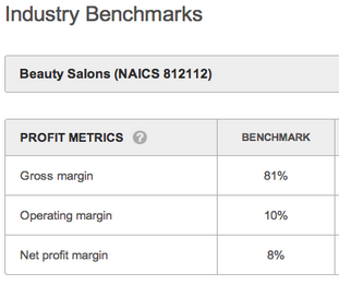 Image from LivePlan business plan for a beauty salon. Benchmark data source is from SageWorks.