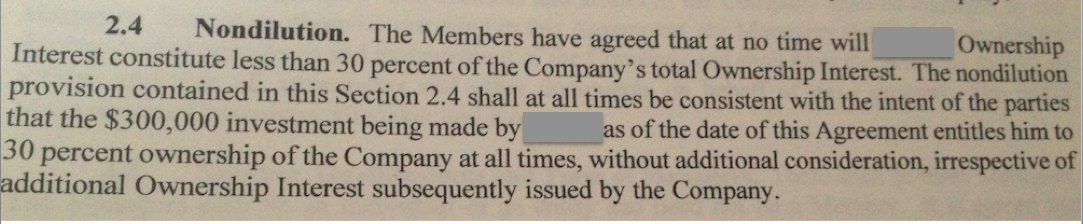 The non-dilution clause from my investor contract.