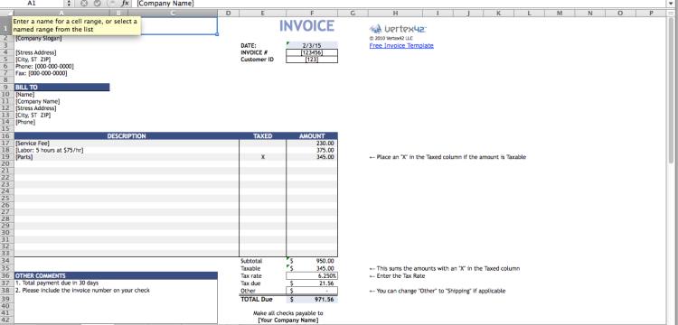 Free invoice templates you can use right now bplans screen shot 2015 02 03 at 40543 pm flashek Choice Image