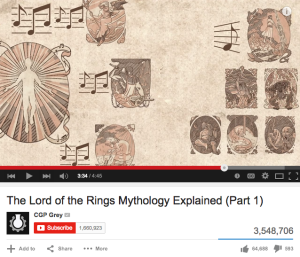 "CGP Grey's video ""The Lord of the Rings Mythology, Explained (Part 1),""  has over three million views."