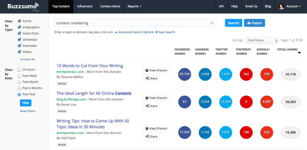 A look at Buzzsumo, an online tool you can use to generate blog topics.