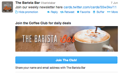 An example of a Lead Generation Card on Twitter.