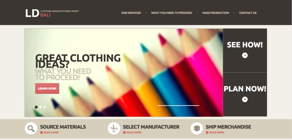 Clothing Manufacturing Agent Bali's homepage.