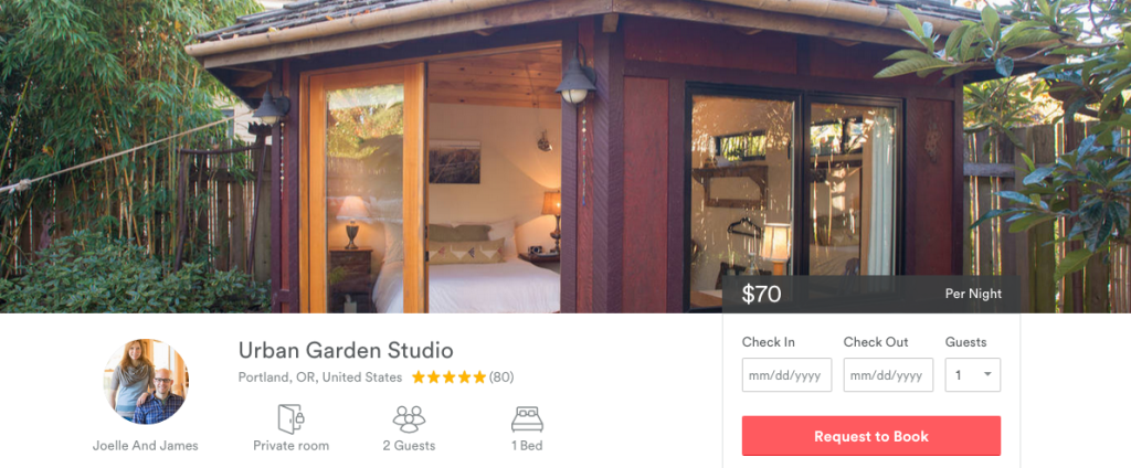 On Airbnb, this little backyard bungalo is only $70 per night.