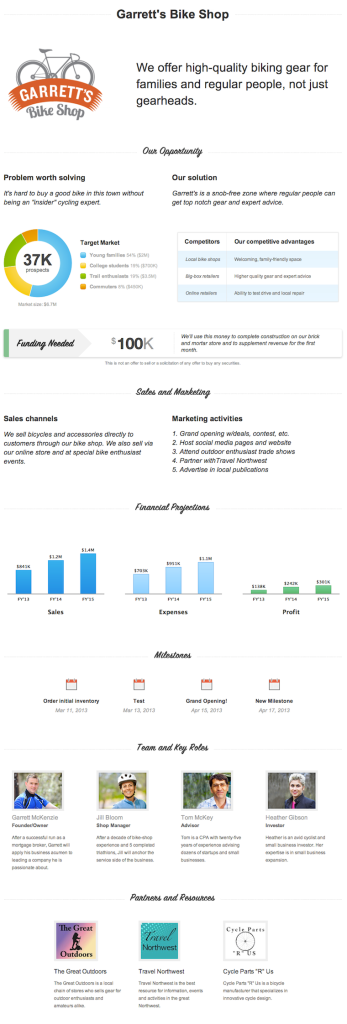 LivePlan One Page business Pitch example