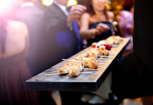 Catering service. Modern food or appetizer for events and celebrations. pinchos ** Note: Shallow depth of field