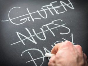 Eliminating problem foods from diet nutrition concept