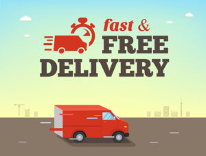 Illustration Of Fast Shipping Concept. Truck Van Of Delivery Ri