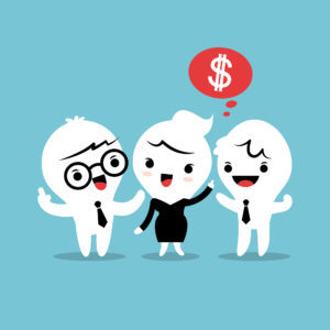 refer a friend referral cartoon concept illustration