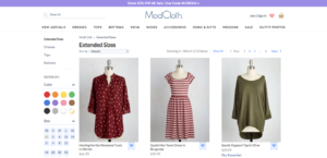Modcloth offers an array of plus-sized options, which has set the store apart.