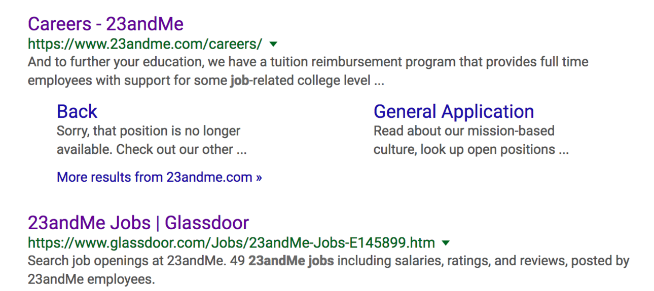 Job listing example; 23andMe Careers example screenshot