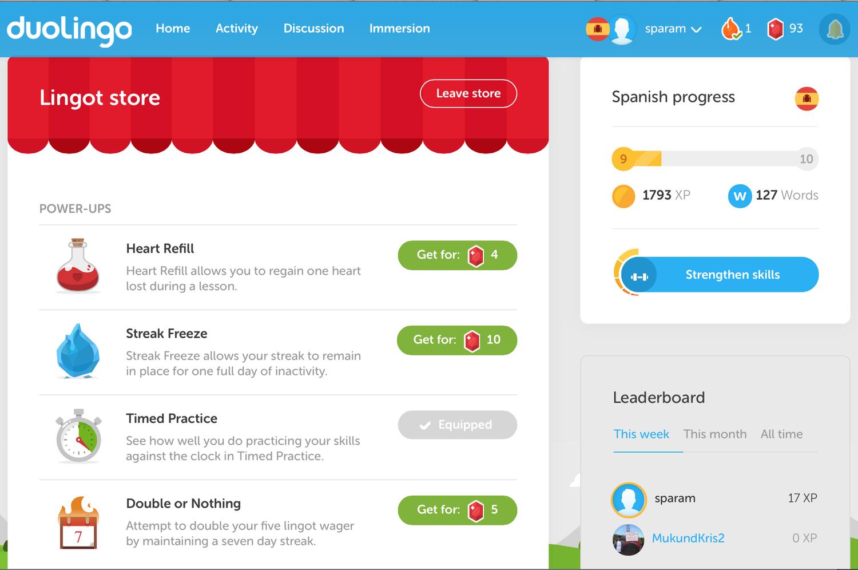 Duolingo Lingot store