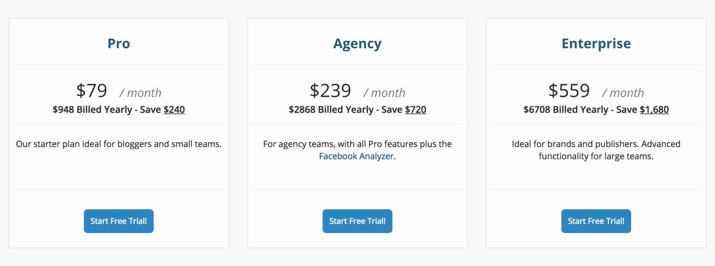 Buzzsumo pricing page