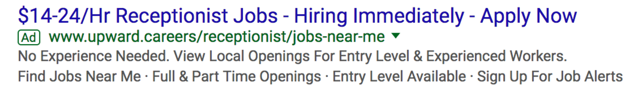 Screenshot of a Google Adwords job listing