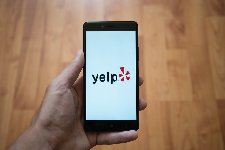 yelp review platform on smartphone; online reviews