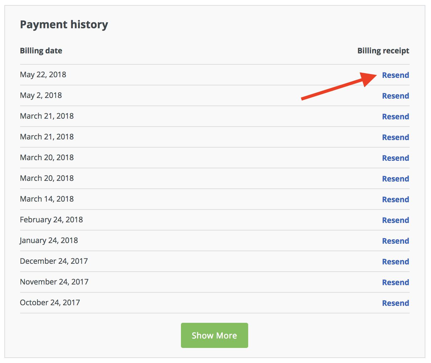 LivePlan product update billing history