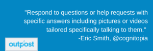Image of Eric Smith's customer satisfaction quote saying to answer customer questions in ways tailored individually to them