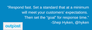 customer service expert Shep Hyken's quote on the importance to respond to customers quickly at the very least
