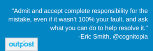 Image of customer Eric Smith's customer satisfaction quote highlighting the importance of accepting responsibility