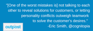 image of Eric Smith's customer satisfaction quote that states team communication is very important