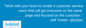 image of Jeff Toister's customer satisfaction quote on the importance of the whole team being on the same page