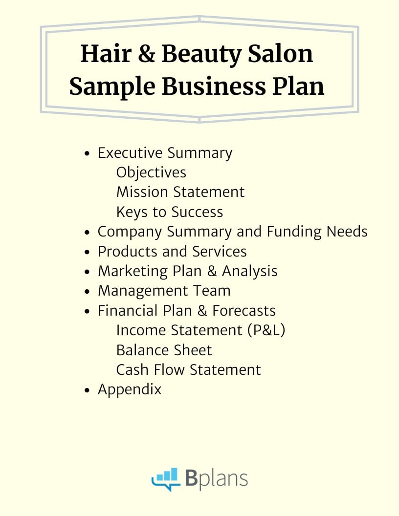 Hair And Beauty Salon Sample Business Plan