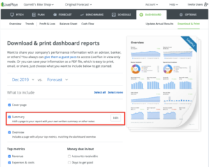 Add a Written Summary to Your LivePlan Dashboard Reports