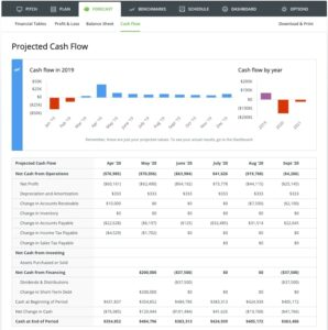 Check your projected cash flow and actively make adjustments in LivePlan