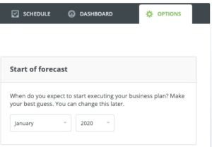Easily start a forecast and adjust the date within LivePlan.