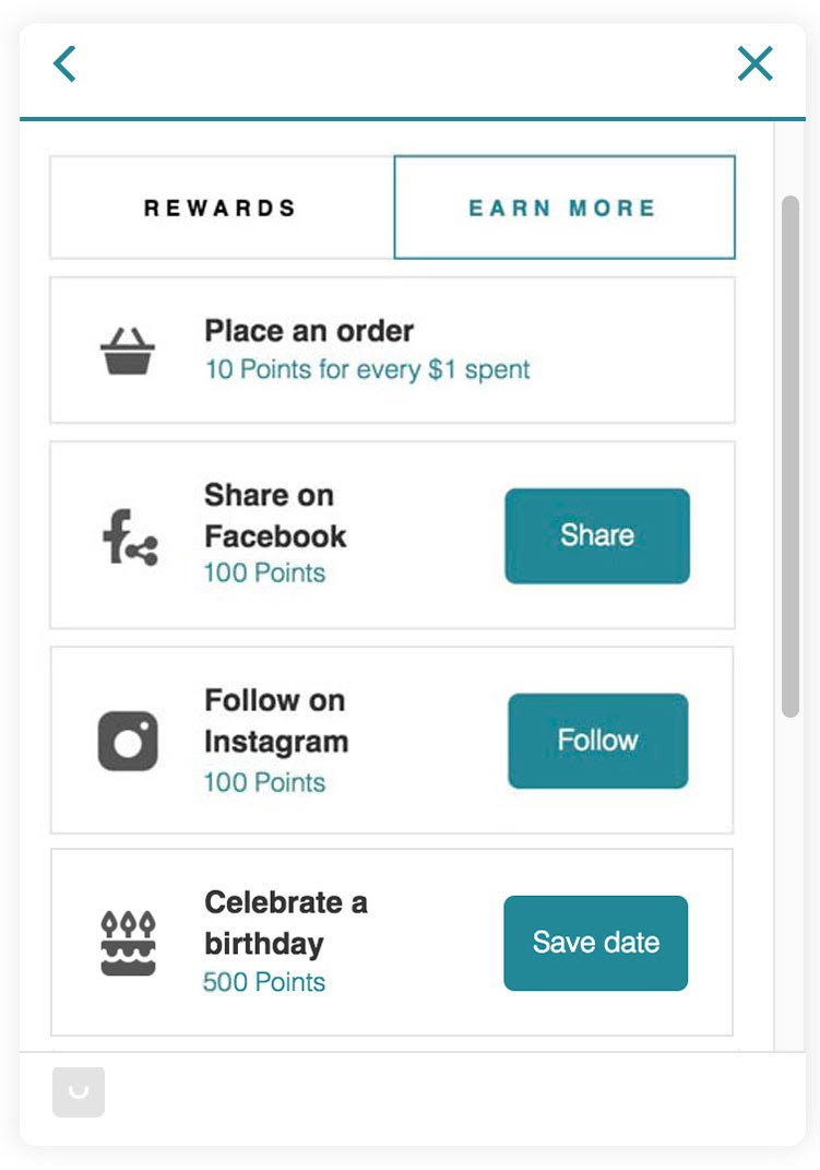 example of what a reward system can look like on social media