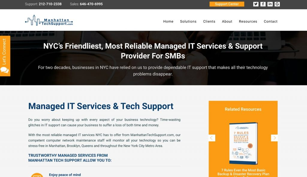 Example of a tech and it service small business page