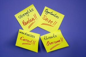 Post it notes with text describing business success