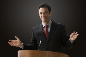 Businessman At Podium