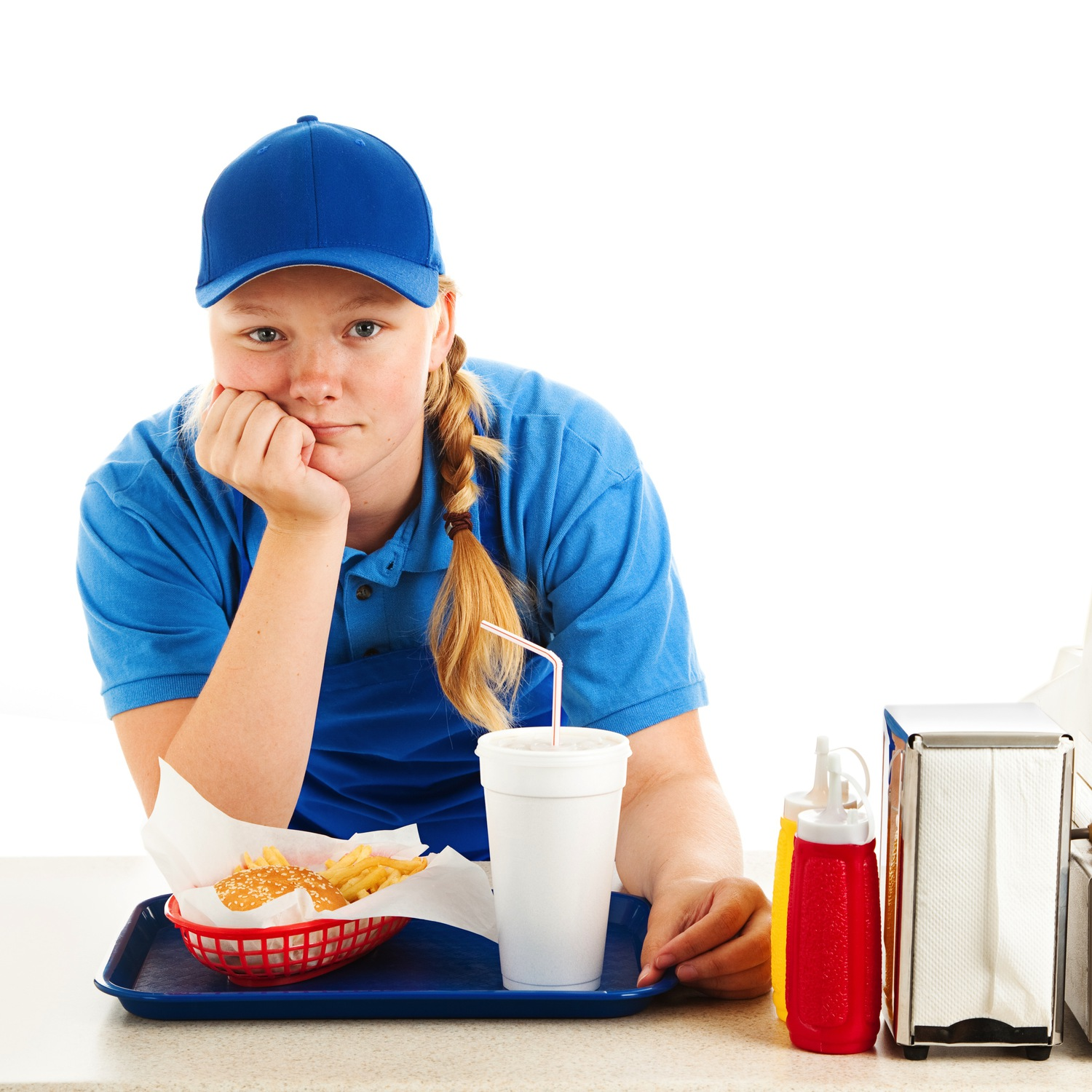 Unhappy Employee At Fast Food Restaurant